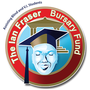 A graduate student with a tertiary institution in the background enclosed by a circle with the words 'The Ian Fraser Bursary Fund'.