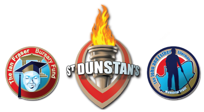 3 logos.A graduate student with a tertiary institution in the background enclosed by a circle with the words 'The Ian Fraser Bursary Fund'. A vertical eye and a flaming torch inserted in it with words 'Saint Dunstan's' written across. A visually impaired person walking with a long cane and the outline of South Africa in the background enclosed in a circle with the words 'The John And Esther Ellerman Memorial Trust'.